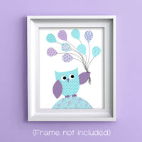 aqua and purple owl decor