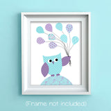 owl with balloons baby girl art print