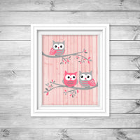 gray and pink owl nursery art print