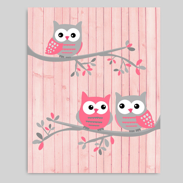 Printable Owl Nursery Decor | Pink and Grey | Instant Download | DIY Nursery Art