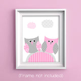 pink and gray owl nursery print
