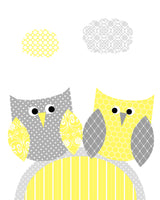 grey and yellow owl nursery art