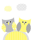 Nursery print with two owls in yellow and gray