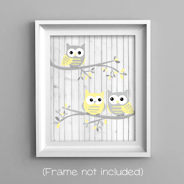 gender neutral gray and pale yellow owl nursery decor