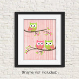 green and pink owl nursery prints