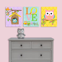 owl baby girl canvas pictures