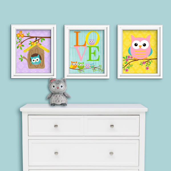 baby girl owl nursery art prints