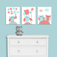aqua and coral owl nursery canvas art