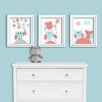 aqua and coral owl nursery decor