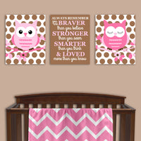 Brown and pink owl nursery canvas prints