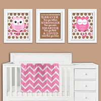 set of three owl nursery prints
