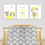set of three gray and yellow owl canvas prints