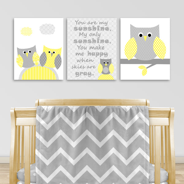 Set of three gray and yellow owl nursery canvas prints