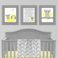 Grey and yellow owl nursery prints