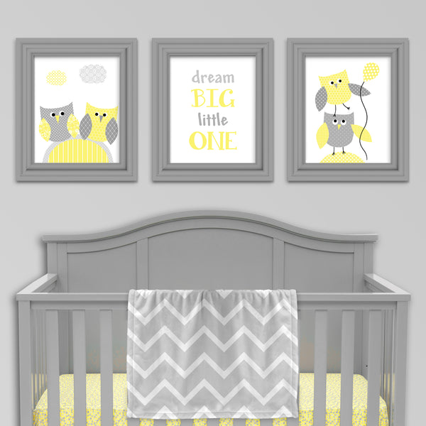 set of three grey and yellow owl nursery prints