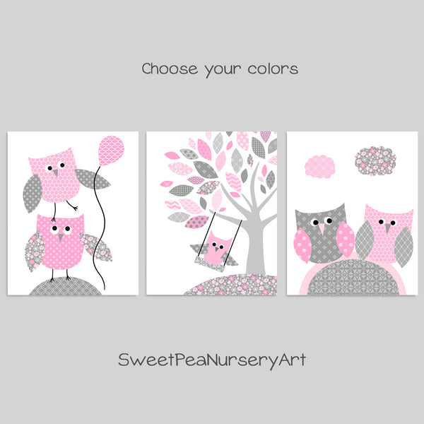 gray and pink owl nursery art
