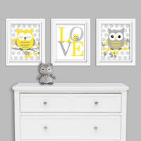 Yellow and grey set of owl nursery canvas prints