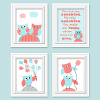 Set of four aqua and coral owl nursery pictures