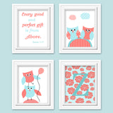 set of four baby girl owl prints