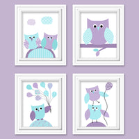 set of four aqua and purple owl nursery pictures