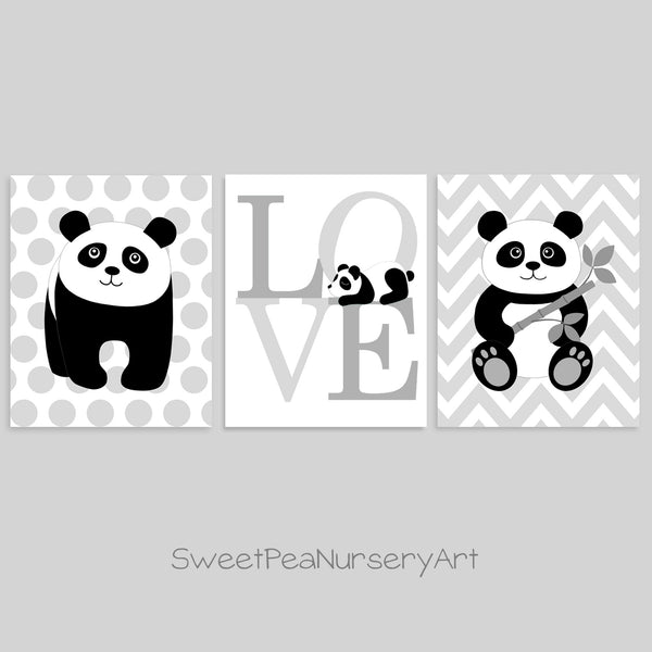 Panda nursery decor in gray and white