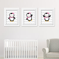 pink penguin nursery prints