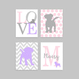 Puppy Nursery Art, Baby Girl Puppy Decor, Puppy Wall Art, Pink Purple Grey, Monogram Print