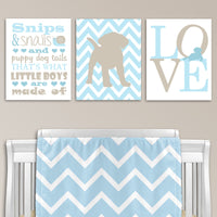 blue and beige puppy wall decor
