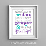 Read me a story nursery art print in plum and teal