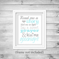 read me a story nursery art print in aqua and gray