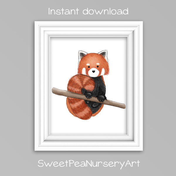 Printable red panda nursery art print