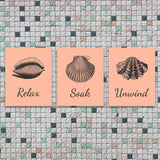 bathroom wall art - relax, soak, unwind - peach and grey