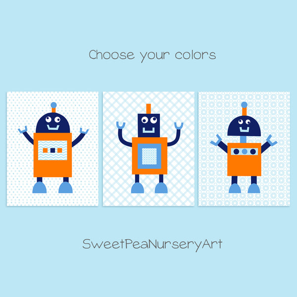 orange, blue and navy robot nursery art