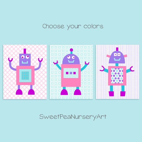 Aqua, pink and purple robot nursery art
