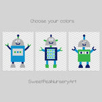 blue, green and navy robot decor