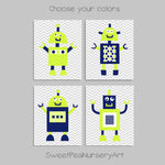 citron and navy robot wall decor