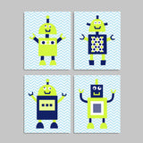 blue and green robot nursery prints