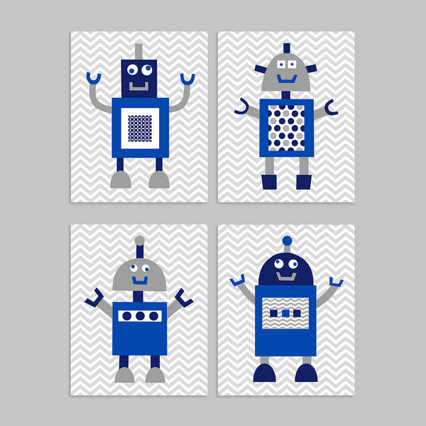 navy and grey robot nursery prints