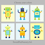 set of 6 robot nursery prints