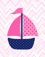 fuchsia and navy sailboat print