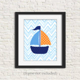 orange and blue sailboat nursery picture
