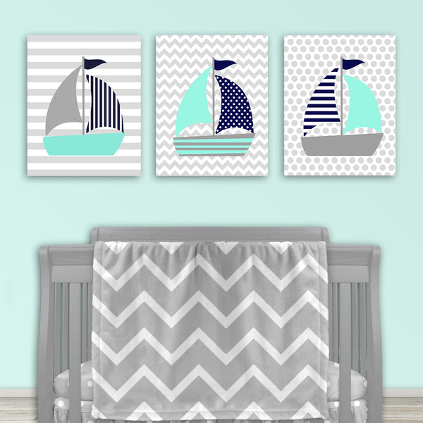 Set of three sailboat nursery prints