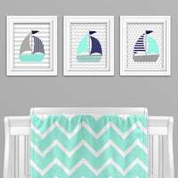 mint, gray and navy sailboat wall art
