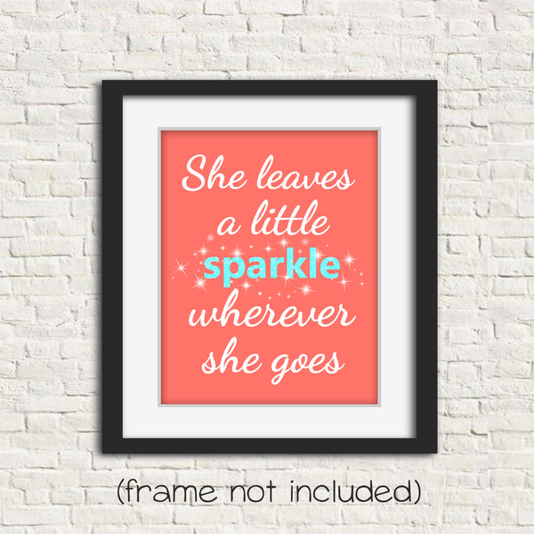 she leaves a sparkle nursery print in aqua, coral and white in frame