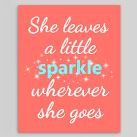 She leaves a sparkle coral and aqua nursery art