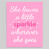 she leaves a sparkle wherever she goes nursery print on canvas