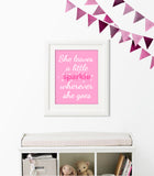 "Baby girl nursery print with the saying ""She leaves a sparkle wherever she goes"" in pink, fuchsia sparkles and white letters."