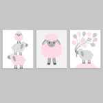 set of 3 sweet lamb prints for baby girl nursery in grey and baby pink, three lambs stacked on top of each other, one lamb on vertical striped background, and one lamb holding a bunch of balloons.