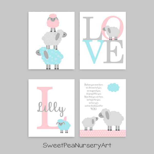 set of 4 lamb nursery prints