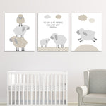 Printable Lamb Wall Art | Grey and Beige | Instant Download | Print at Home | Gender Neutral